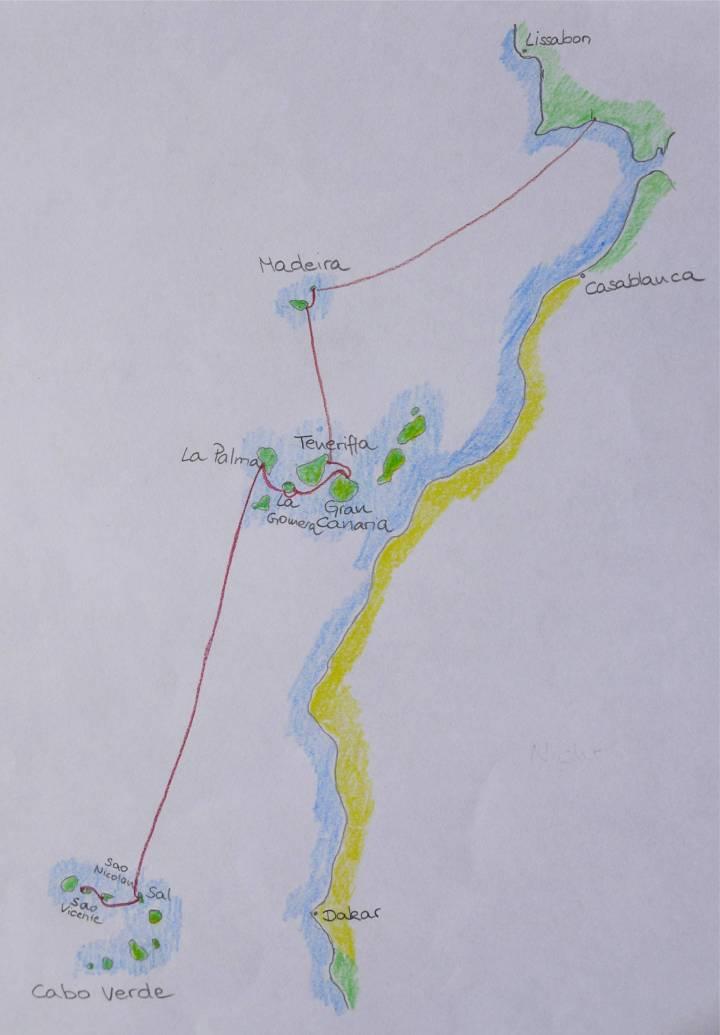 Karte Ayamonte bis Sao Vicente