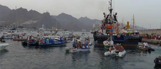 Teneriffa viele Boote bei der Prozession