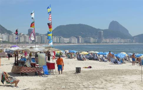 Rio Copacabana kollektives braten in der Sonne