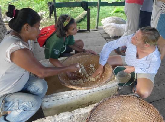 Uacari Caburini Community gemahlener Maniok wird gesiebt