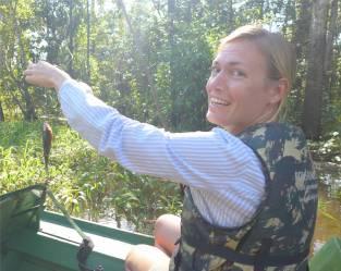 Uacari Piranhaangeln der kleine Fisch ist mir unheimlich