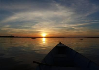 Uacari Sonnenuntergang am Rio Japura
