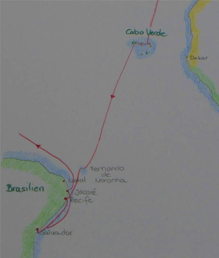 Karte Cabo Verde bis Jacare