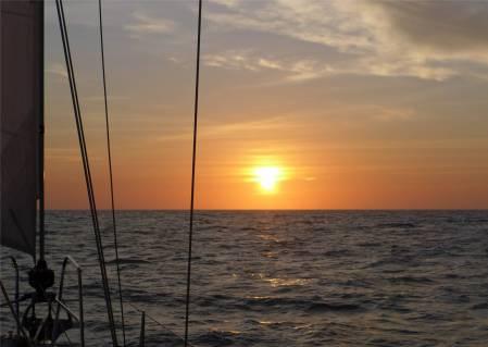 Überfahrt nach Suriname Sonnenuntergang