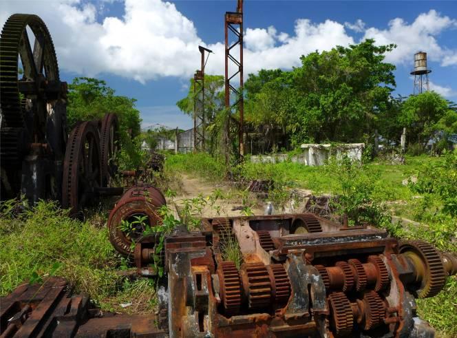 Suriname Plantagentag Zuckerrohrpresse oder die Reste davon
