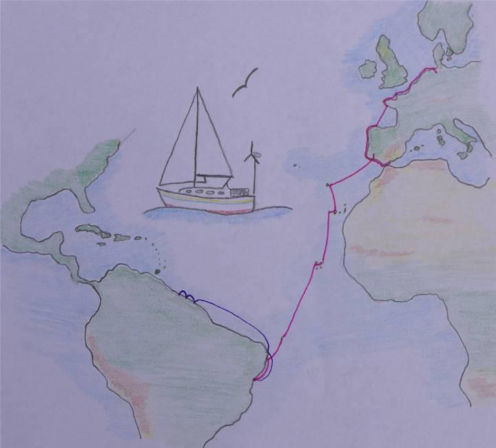 Karte Atlantik bis Suriname