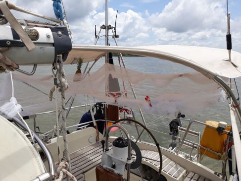 Moskitonetz Cockpit zusammengetüddelt
