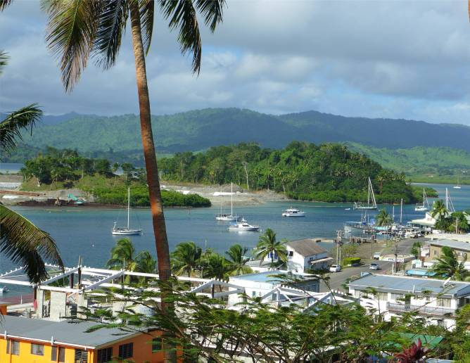 Fiji Savusavu Blick auf den Ankerplatz