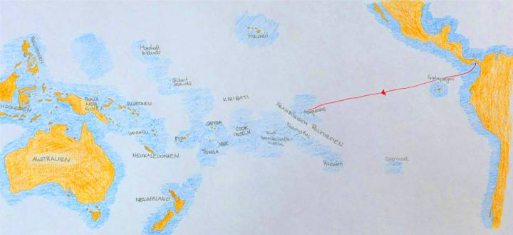 Karte Panama bis Marquesas