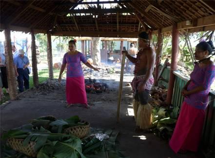 Samoa Cultural Village Essensvorbereitungen