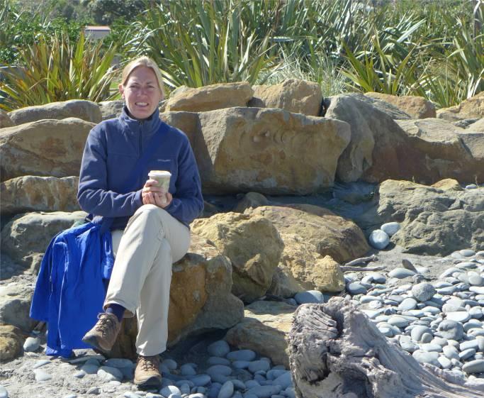 NZ Morgens Kaffee am Strand