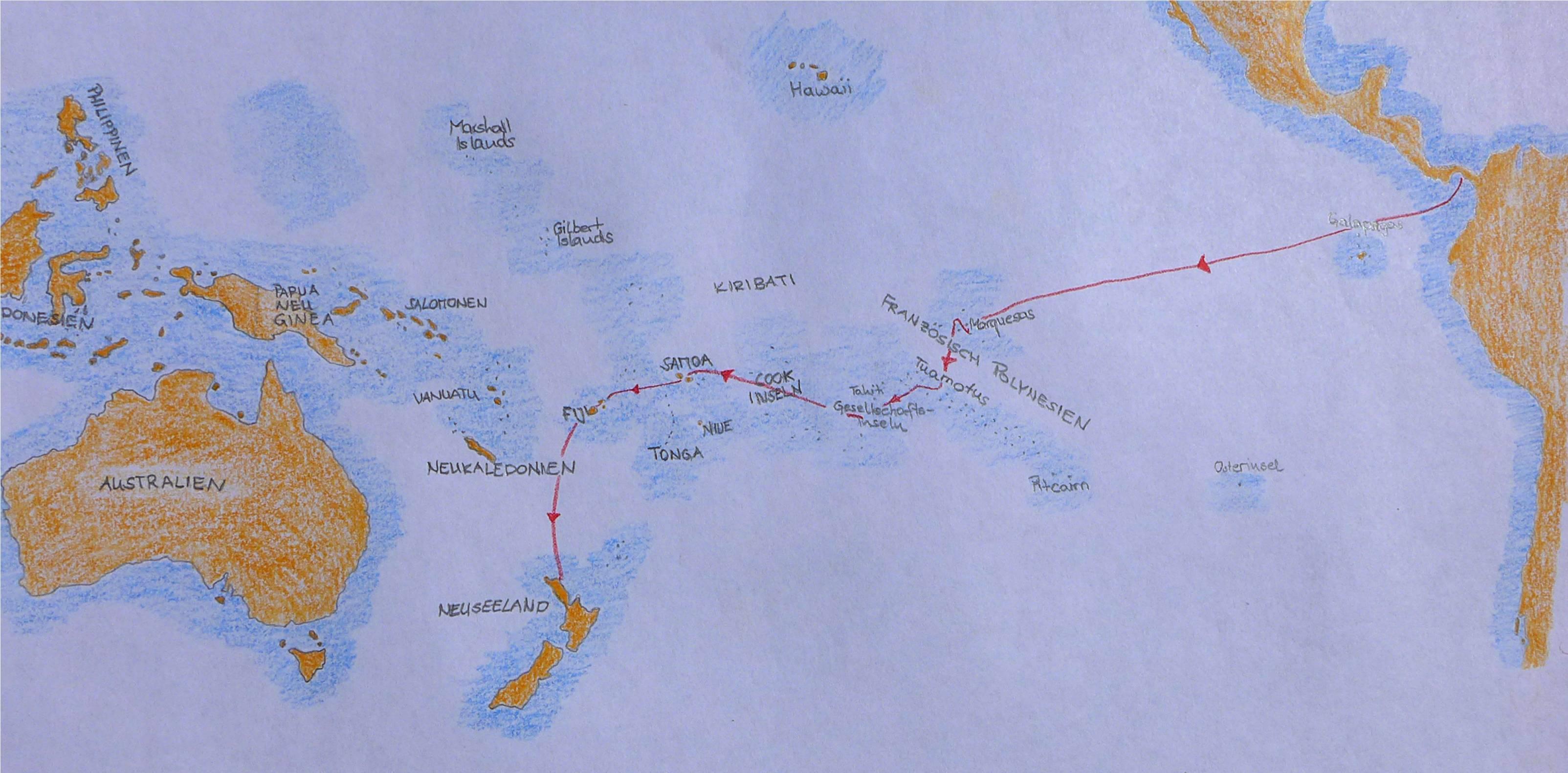 1 Karte Panama bis Neuseeland